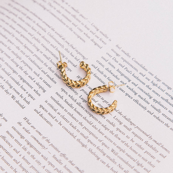 Small Gold Weave Hoop Earring