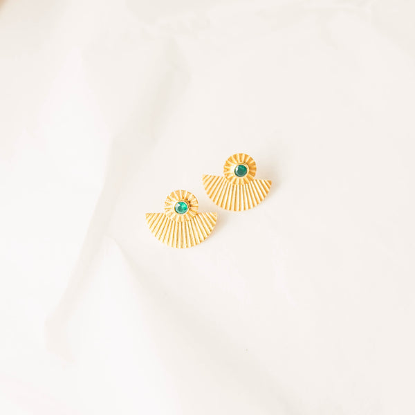 The Sunny Earrings in Green onyx