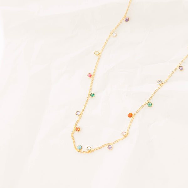 Rainbow multi-stone necklace