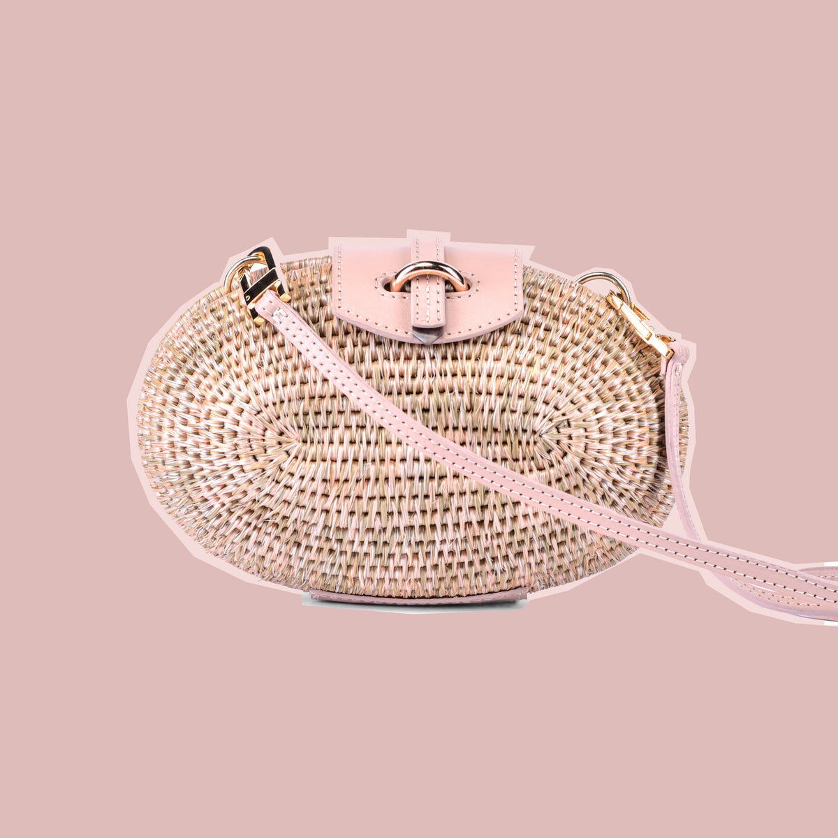 Lindi Minaudiere Woven Basket Bag in Blush