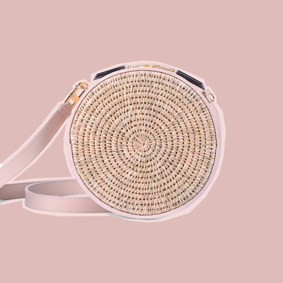 Sindi Circle Woven Basket Bag in Blush