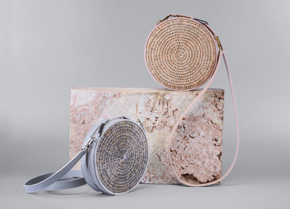 Sindi Circle Woven Basket Bag in Blush - Khokho Swaziland