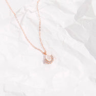Rose Gold Vermeil Rainbow Moonstone & Diamond Ballerina Pendant