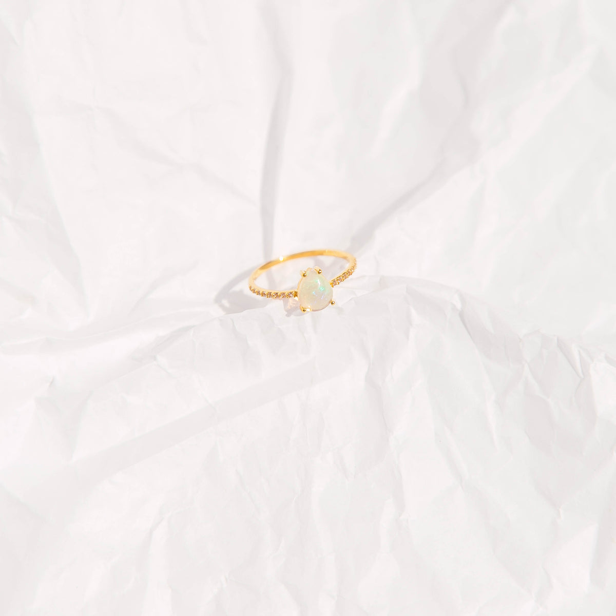 Gold Opal and Topaz Angels Teardrop Ring