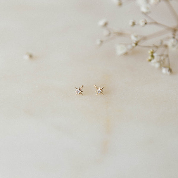 14KT Gold Mini Diamond Star Studs by La Kaiser