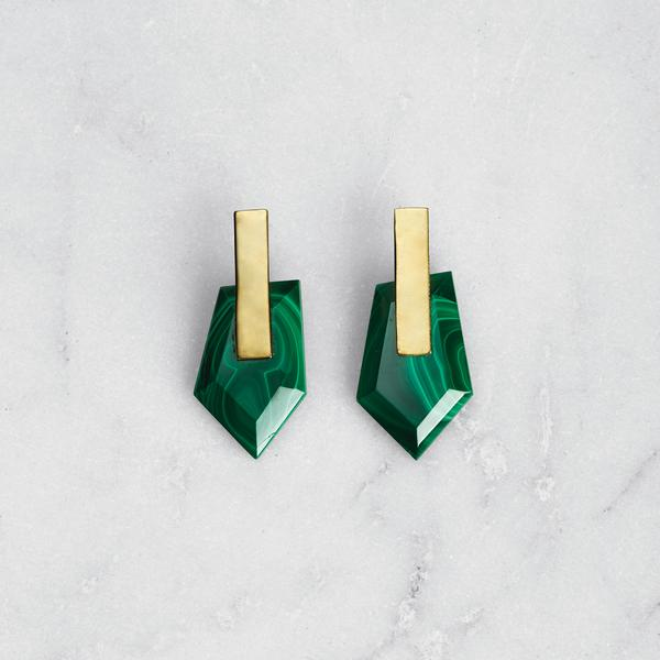 Freeform Malachite Earrings