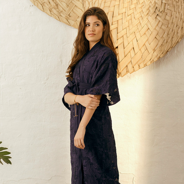 Jacquard Long Kimono Inspired Gown | Midnight Blue