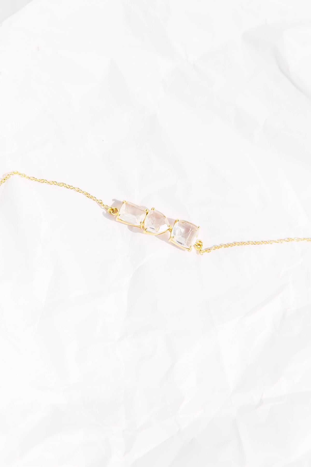 Bar Bracelet in Gold & Crystal