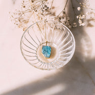 Matter of Fakt Freeform Raw Stone Pendant Necklace - Turquoise