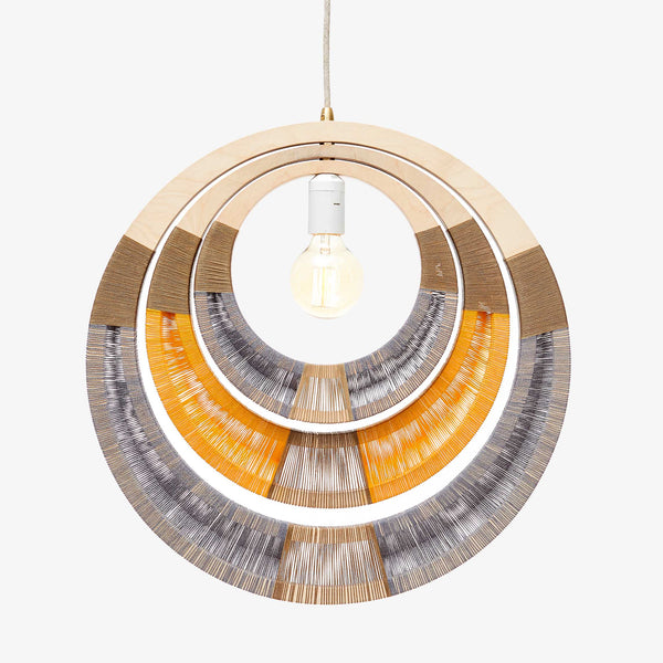 African Woven Necklace Lampshade - Yellow