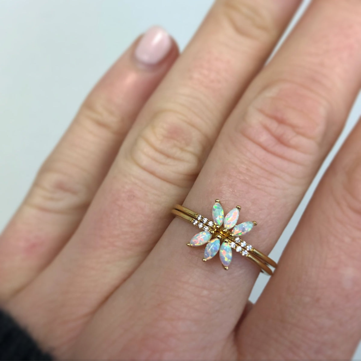Opal and Diamond Twinkling Lotus Ring
