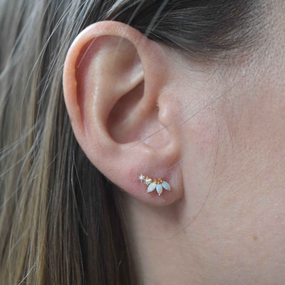 Opal and Diamond Twinkling Lotus Studs