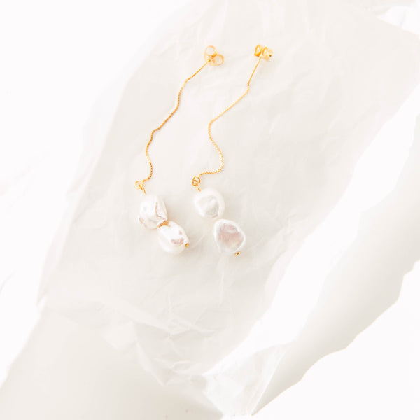 Keshi Double Drop Earrings