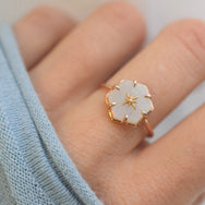 Gold Star Studded Rainbow Moonstone Ring