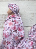 Tilly and Otto - Rose Gift Set (Swaddle + Headpiece)