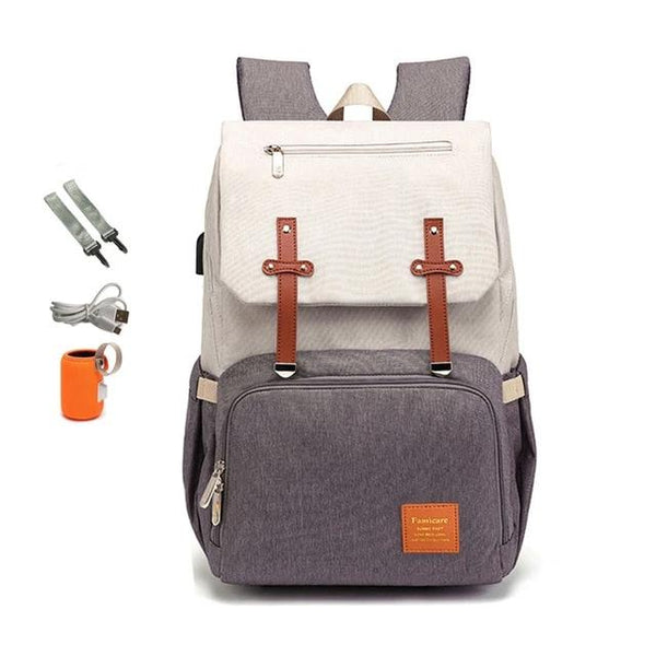 State of Baby Diaper Backpack with USB Charger (Beige)
