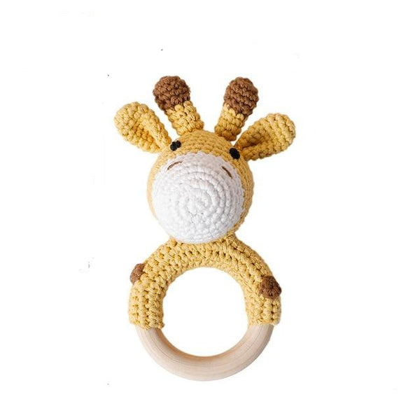 Crochet Animal Wooden Teether - Giraffe