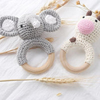 State of Baby Crochet Animal Wooden Teether - Elephant