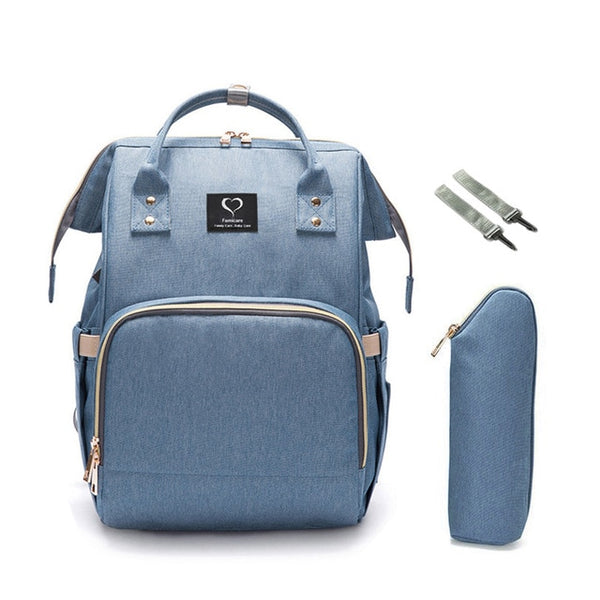 Diaper Backpack with USB Charger - Light Blue | State of Baby