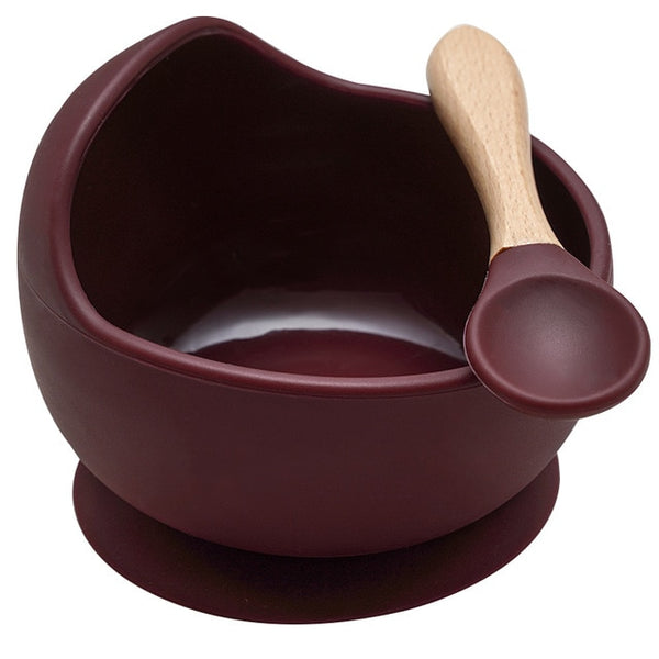 Silicone Bowl & Spoon (Burgundy)