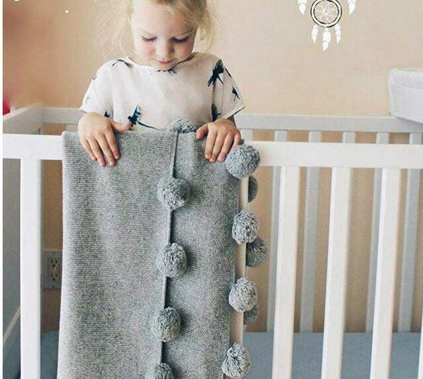 State of Baby Cotton Knit Pom Pom Blanket