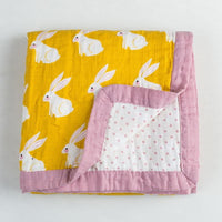 State of Baby 4 Layer Muslin Baby Blanket - Rabbit