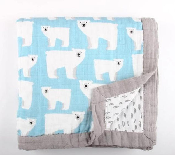 Muslin Baby Blanket (4 Layers) - Polar Bear