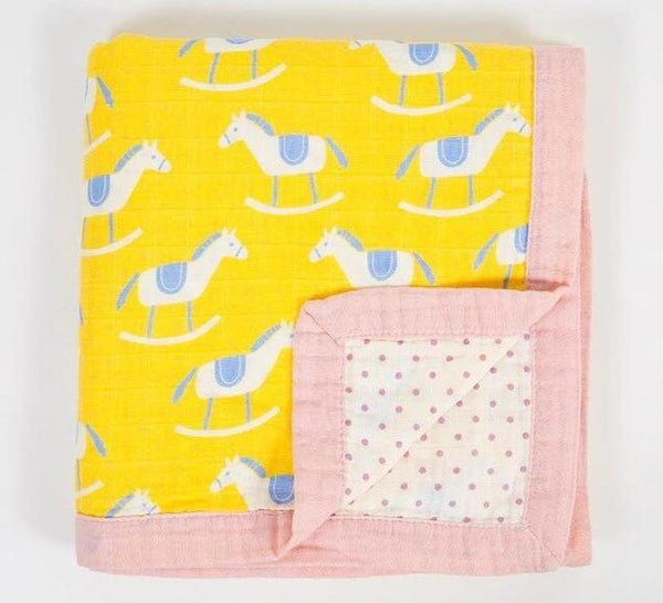 Muslin Baby Blanket (4 Layers) - Rocking Horse