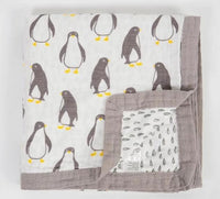 State of Baby 4 Layer Muslin Baby Blanket - Penguins