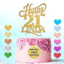 Load image into Gallery viewer, Happy 21st Birthday Cake Topper Any Name Age