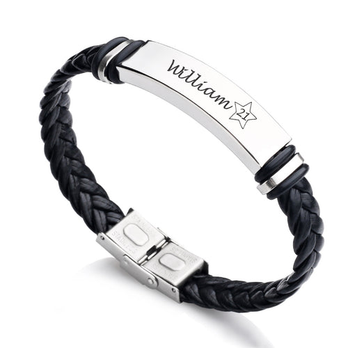 Personalised Engraved Leather Birthday Bracelet - EDSG