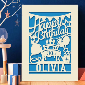 Personalised Birthday Card Laser Paper Cut Greeting Cards