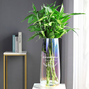 Personalised Engraved Flower Vase Rainbow Plated Glass Vase(Name) - EDSG