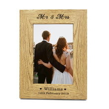 "Load image into Gallery viewer, Personalised Engraved 7"" X 5"" Wood Photo Frame Wedding Gift - EDSG"