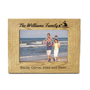 "Personalised Engraved 7"" X 5"" Wood Photo Frame Family Gift - EDSG"