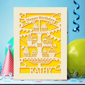 Personalised Birthday Card Cup Cake Style - EDSG
