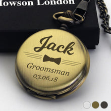 Load image into Gallery viewer, Personalised Engraved Pocket Watch Gift for Pageboy - EDSG