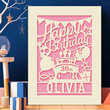 Load image into Gallery viewer, Personalised Birthday Card Laser Paper Cut Greeting Cards