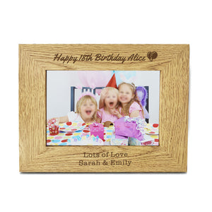"Personalised Engraved 7"" X 5"" Wood Photo Frame Birthday Gift - EDSG"