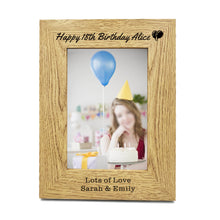 "Load image into Gallery viewer, Personalised Engraved 7"" X 5"" Wood Photo Frame Birthday Gift - EDSG"