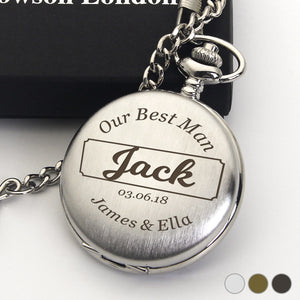 Personalised Engraved Pocket Watch Bestman Gift - EDSG