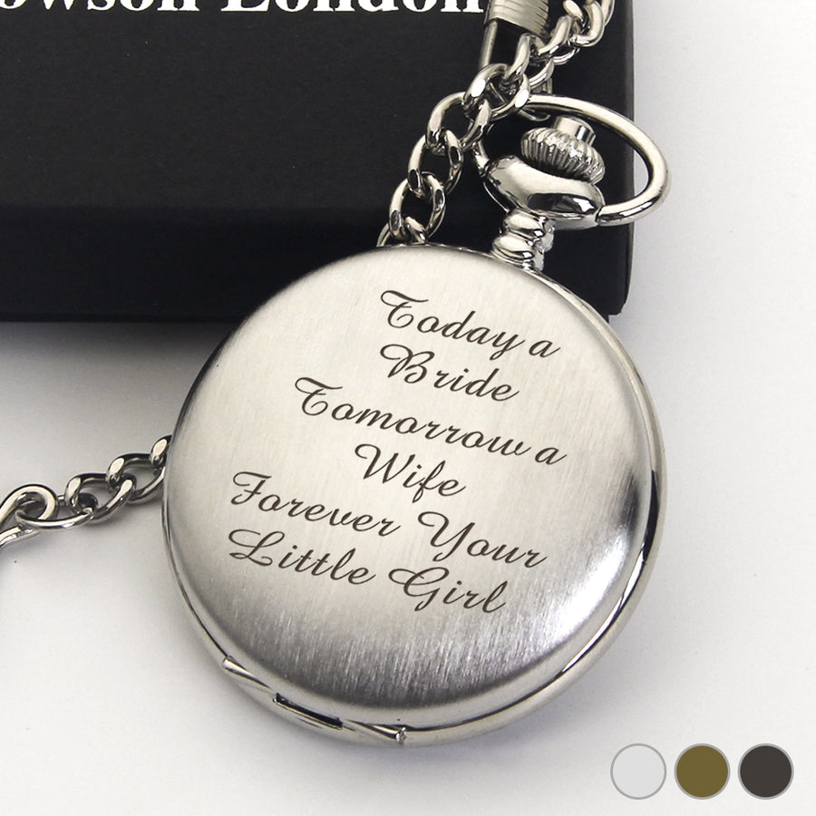 Personalised Engraved Pocket Watch - Father Of The Bride Wedding Gift - EDSG