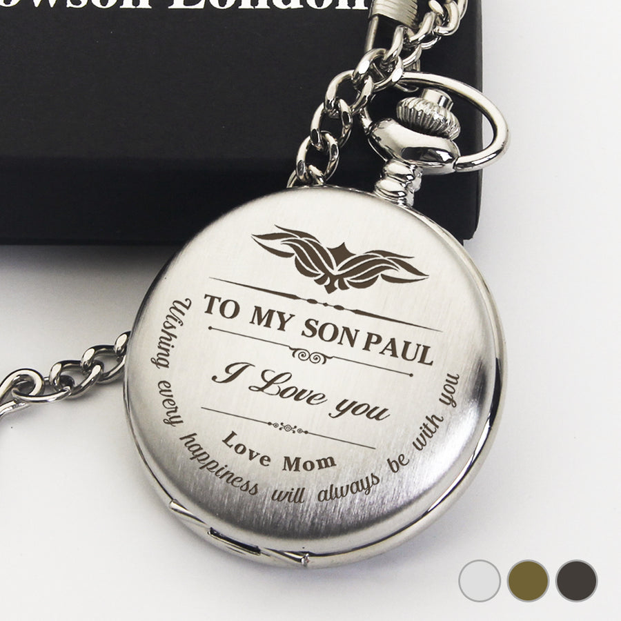 Personalised Engraved Pocket Watch Birthday Anniversary Wedding Gift - I Love You - EDSG