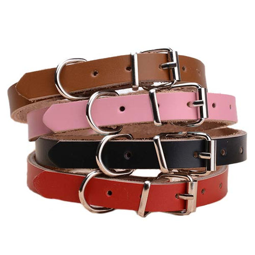 Strong Real Leather Dog collar | Pet Cat Puppy | Brown Black Pink Red | Four Sizes - EDSG