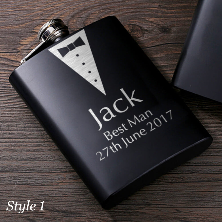 Personalised Hip Flask - Groomsman Wedding Present - EDSG