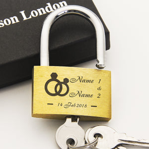 Personalised Engraved Love Lock Diamond Ring - EDSG
