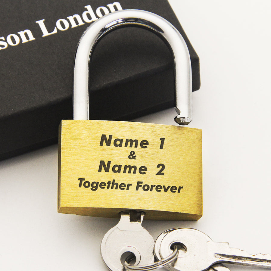 Personalised Engraved Padlock Love Lock Wedding Gift - Together Forever - EDSG