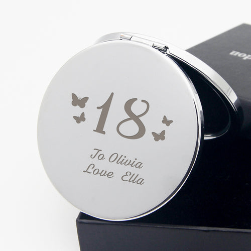 Personalised Handheld Mirror Birthday Gift with Butterfly - EDSG