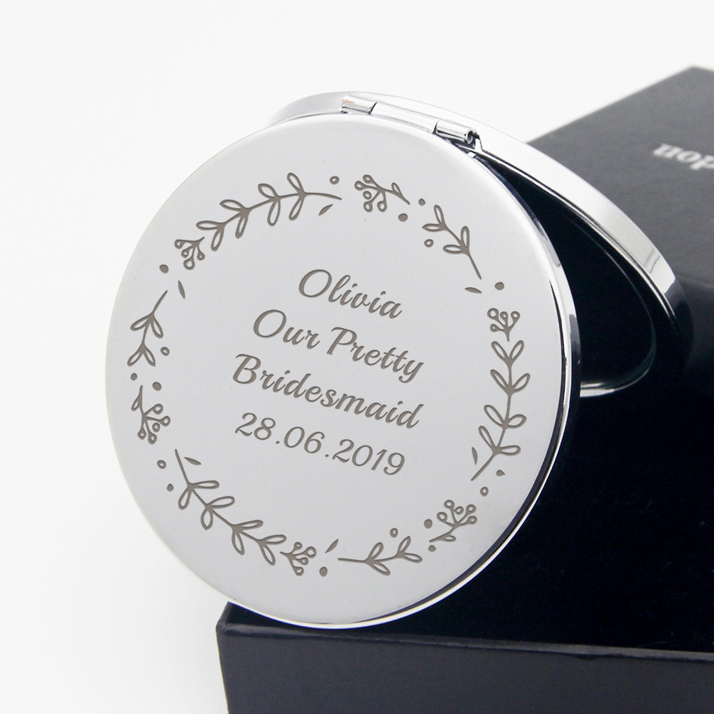Personalised Handheld Mirror Bridesmaid Gift - EDSG