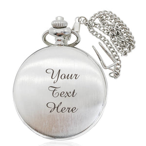Personalised Engraved Pocket Watch Wire-drawing Fathers Day Gift - EDSG